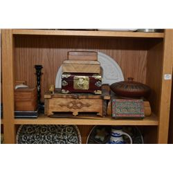 Shelf lot of East Asian collectibles including lidded wooden boxes, carved wooden letter organizer,