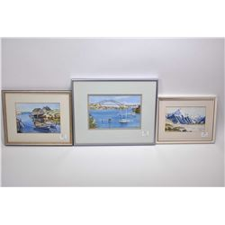 """Three original watercolour paintings all water themed including titled on verso """"Evening Reflections"""