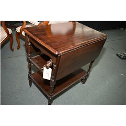 Mid 20th century drop leaf tea wagon with single drawer and unusual lever operated leaf lifts
