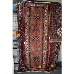 100% wool Iranian Hamedan runner area/ carpet with multiple medallions and overall stylized floral p