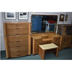Art deco style six drawer highboy with matching drop vanity and vanity bench