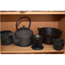 Shelf lot of vintage collectibles including frying pans, cooking pots, waffle maker, pestal, etc.