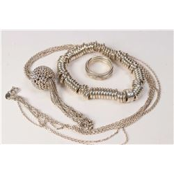 "Selection of sterling silver Links of London jewellery including ""Sweetie Roll"" bracelet, ball penda"