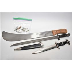 Selection of edged weapons including a bayonet, a machete, reproduction Nazi dagger and a selection