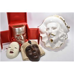"""Selection of wall masks including """"Oro de Ley"""" glazed porcelain, Gianni Cavalier signed mask in pres"""