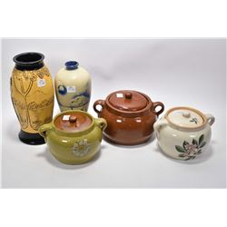 Selection Medalta Pottery including three lidded bean pots plus two cold painted flower vases