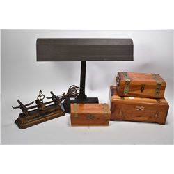 Vintage cast desk lamp and three red cedar hinged boxes