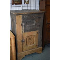 Antique two door primitive ice chest