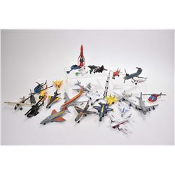 Large selection of vintage die cast planes and helicopters and rockets including Lintoy, Matchbox, C
