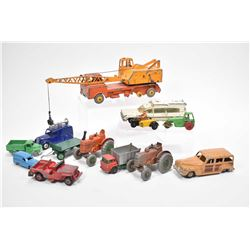 Large selection of vintage Dinky Toys including Supertoys 20 ton lorry mounted crane # 972, two Fiel