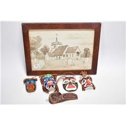 """Vintage oak framed watercolour titled """"Tewin Chvrch"""", four small painted Haida masks including """"KIng"""