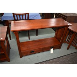 Modern mission style sofa/console table with two drawers