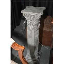 """Two piece concrete Corinthian column statuary stand 30"""" in height"""