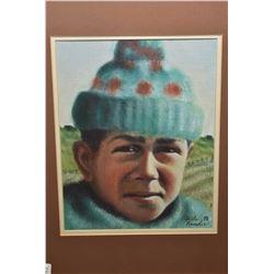 "Framed pastel on paper portrait signed by artist Adele Knowler ""78, 10"" X 8"""