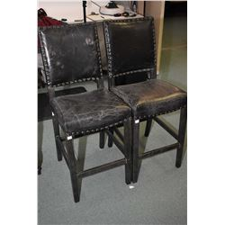 Pair of new distressed style upholstered high back stools