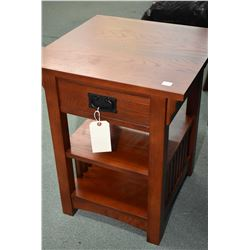 Two Mission style modern side table including one round and one square