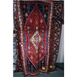 100% wool Iranian Hamedan area carpet with center medallion, multiple borders with unusual and rare