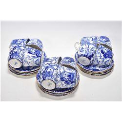 Twelve Royal Crown Derby Mikado demi cups and saucers