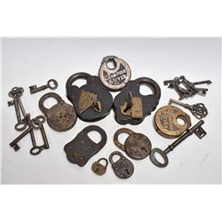 Selection of vintage cast brass padlocks including Champion 6-Lever, Timber etc. plus a selection of