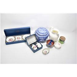 Selection of china collectibles including Maling biscuit barrel, two boxed Royal Worcester sets incl