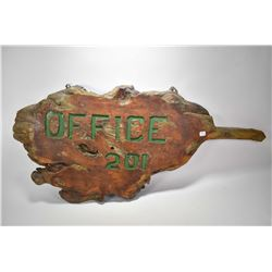 """Burl wood slab with carved in signage """"Office 201"""", 46"""" wide"""