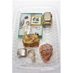 Tray lot of collectibles including silver thread holder and thimbles, French ormolu and glass dresse