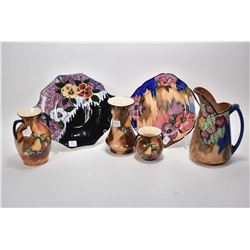 Six pieces of Tunstall glazed pottery including pitcher plus a selection of vases including double h