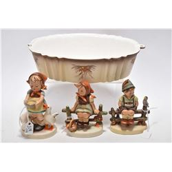"""Three vintage Hummel figurines including """"Be Patient"""", """"Wayside Harmony"""" and """"Just Resting"""" all earl"""