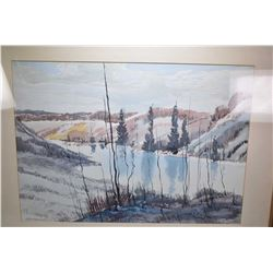 Framed original watercolour painting of purportedly the North Saskatchewan river signed by artist Mu