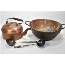 """Large copper jelly pan 16"""" in diameter, copper kettle and two ladles"""