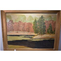 """Antique gilt framed oil on canvas painting of treed shoreline, artist signed, 24"""" X 32"""""""