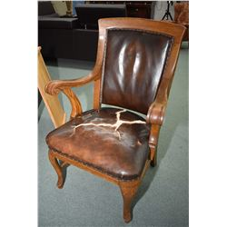 Antique oak open arm parlour chair with nail head decoration and original leather upholstery