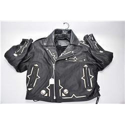 Vintage Leather Range brand Inuit themed leather jacket, men's size medium