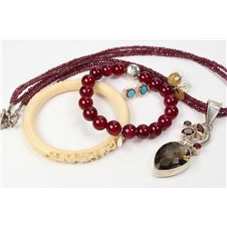 Selection of jewellery including carved elephant ivory bracelet, amethyst necklace with sterling sil
