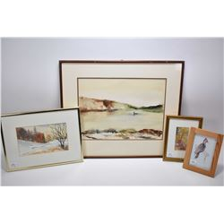 """Three original watercolour paintings including stylized duck on a pond scene signed Richards, 10"""" X"""