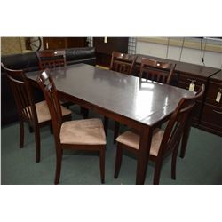 Modern dining table with size slat back dining chair with upholstered seats plus fitted soft plastic