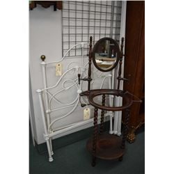 """Antique 34"""" cot sized wrought iron headboard, foot board and rails plus a Victorian style wash stand"""