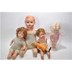 Five vintage composition dolls including Kewpie style doll, composition is good on all dolls, no cra