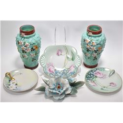 """Pair of Victorian bristol glass vases with handpainted flowers and butterflies 8"""" in height, three h"""