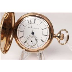 Hampden size 18, 17 jewel, model 4 pocket watch. Serial # 1720496 dates this pocket watch to 1902, f