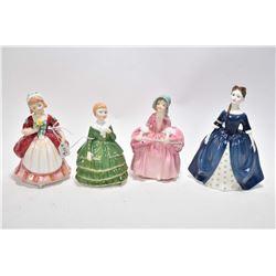 "Four Royal Doulton figurines including ""Debbie"" HN2385, ""Valerie"" HN2107, ""Bo- Peep"" HN1811 and ""Bel"