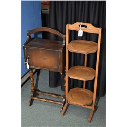 Mid 20th century walnut smoker's cabinet and a three tier folding snack butler