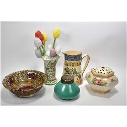 """Tray lot of collectibles including Royal Doulton """"Falconry"""" jug D 3696, Goofus glass dish, 9"""" in dia"""