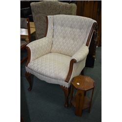 Mid 20th century upholstered parlour chair and a small oak stand