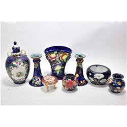 """Tray lot of collectibles including 7"""" Maling glazed pottery vase, a pair of Coronaware candlesticks,"""