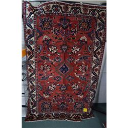 100% wool Iranian Bakhtair area carpet with center medallion, overall stylized floral pattern and tr
