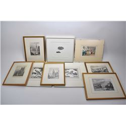 Selection of wall art including colour etchings, black and white etched prints, architectural pieces