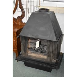Free standing metal fireplace with electric insert