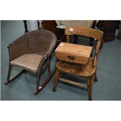 Selection of child sized antique furniture including rocking chair, side chair and step stool
