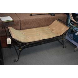 Modern wrought iron bed end bench with loose upholstered pillow